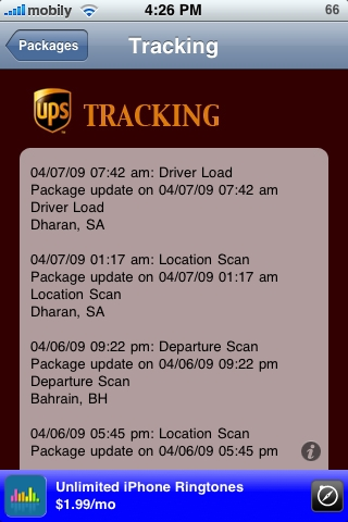 Package Tracker Details