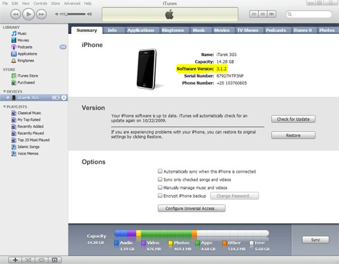 iTunes SoftwareVersion