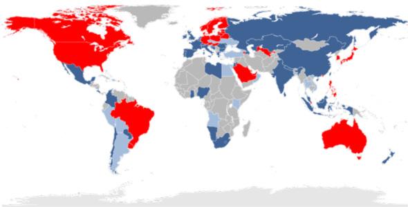 الدول باللون الأحمر يتوافر بها الخدمة، باللون الازرق الغامق خطط لوقت توافرها به، باللون الأزرق الخفيف أجريت تجارب لإدخال الخدمة